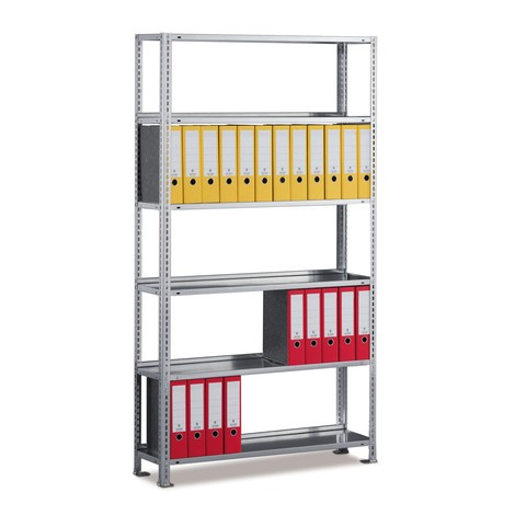 META filing shelf base unit, single-sided, with top shelf, galvanised