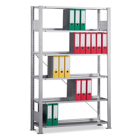 META filing shelf base unit, single-sided, with top shelf, shelf load 80 kg, galvanised