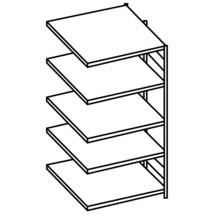 META shelf rack, add-on unit, double-row, shelf load 150 kg, galvanised