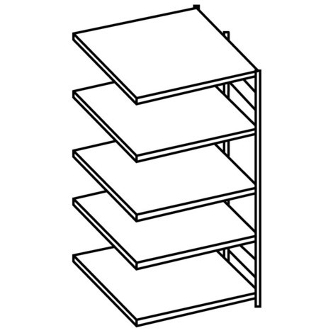 META shelf rack, add-on unit, double-row, shelf load 150 kg, galvanised