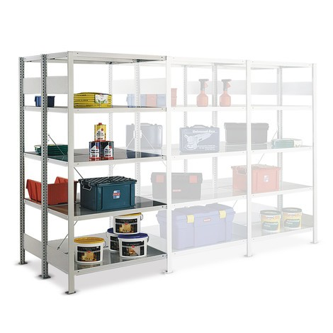 META shelf rack, add-on unit, double-row, shelf load 150 kg, light grey