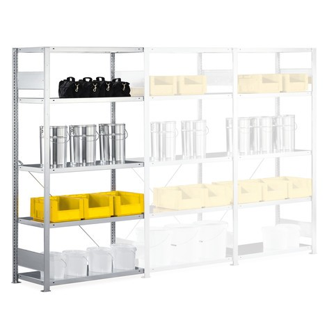 META shelf rack, add-on unit, shelf load 230 kg, light grey