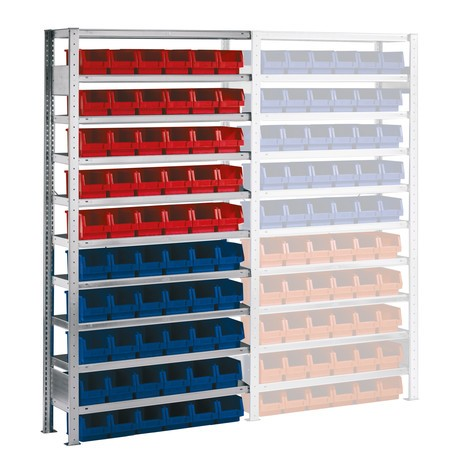 META shelf rack, add-on unit with storage bins, shelf load 100 kg