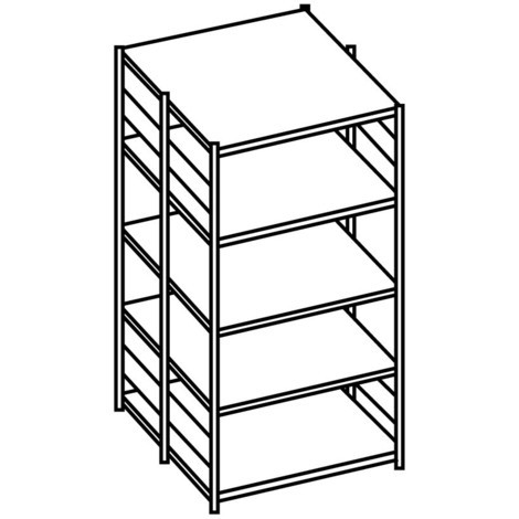 META shelf rack, base unit, double-row, shelf load 150 kg, galvanised