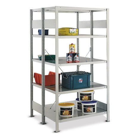 META shelf rack, base unit, double-row, shelf load up to 150 kg, light grey