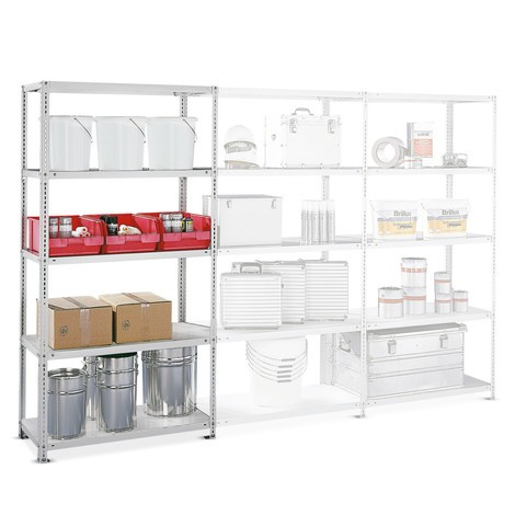 META shelf rack, bolted, add-on unit, shelf load 100 kg, light grey