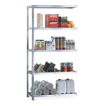 META shelf rack, bolted, add-on unit, shelf load 230 kg, galvanised