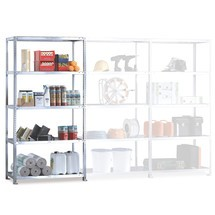 META shelf rack, bolted, add-on unit, shelf load 230 kg, light grey