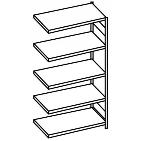 META shelf rack, bolted, add-on unit, shelf load 80 kg, light grey