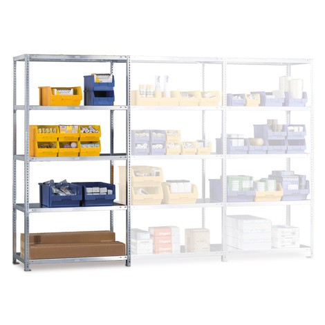 META shelf rack, bolted, add-on unit, shelf load 80 kg, light grey