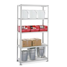 META shelf rack, bolted, base unit, shelf load 100 kg, light grey