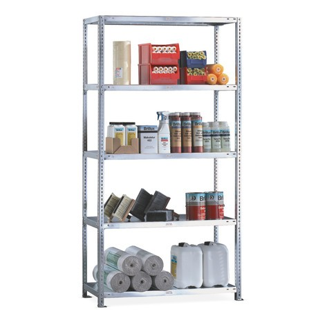META shelf rack, bolted, base unit, shelf load 230 kg, galvanised