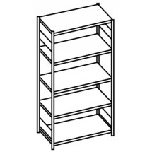 META shelf rack, bolted, base unit, shelf load 230 kg, light grey