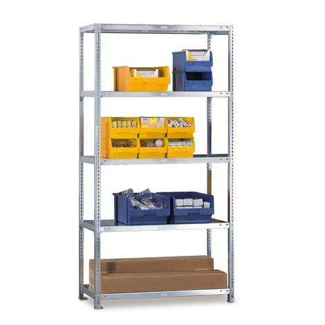 META shelf rack, bolted, base unit, shelf load 80 kg, light grey