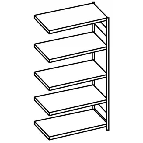 META shelf rack, boltless, add-on unit, shelf load 100 kg, light grey