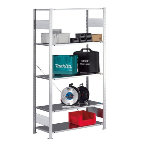 META shelf rack, boltless, base unit, shelf load 80 kg, galvanised