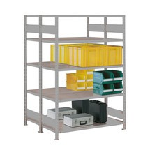 META wide-span rack, double-row, base unit, light grey
