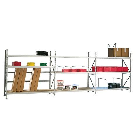 META wide-span rack, with chipboard, base unit, galvanised