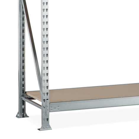 META wide-span rack, with chipboard, shelf load up to 600 kg, add-on unit