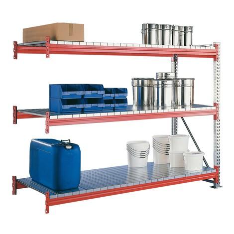 META wide-span rack, with steel panels, add-on unit, galvanised/red orange
