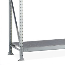 META wide-span rack, with steel panels, shelf load up to 600 kg, base unit