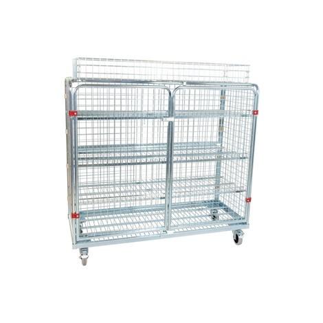 Metallrullcontainer, 5-sidig, inclusive överkorg