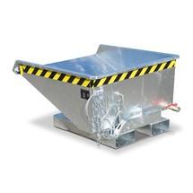 Mini-benne à copeaux avec mécanisme d'aide au basculement, faible hauteur de construction, galvanisée