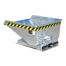 Mini-benne basculante avec mécanisme d'aide au basculement, faible hauteur de construction, galvanisée