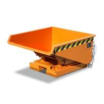 Mini contenedor basculante con mecanismo rodante, baja altura de construcción, pintado