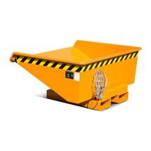 Mini contenedor basculante con mecanismo rodante, baja altura de construcción, pintado, volumen 0.275 m³