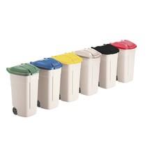 Mobiele vuilcontainer met gekleurd deksel. Inhoud 100 liter