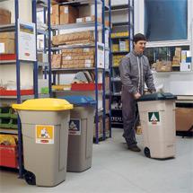 Mobile 100-Liter-Mülltonne, mit farbigem Deckel