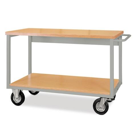 Mobile Werkbank mit Rollen, 2 Holzböden