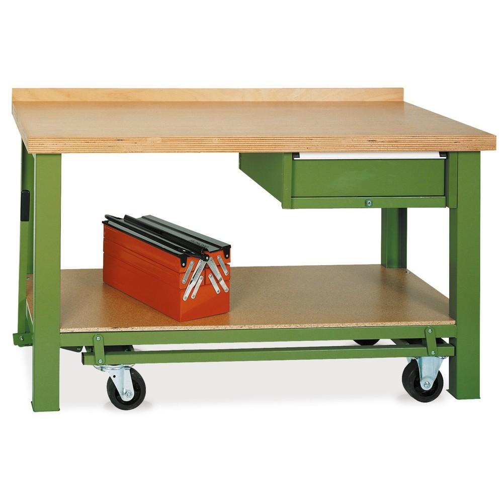 Mobiler Werkbanktisch Premium mit Schublade, TK 850 kg, HxBxT 850 x 1.500 x 700 mm