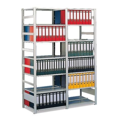 Moduł dodatkowy regału na dokumenty META, dwustronny, zgórną półką zamykającą, jasnoszary