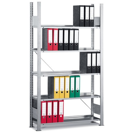 Moduł podstawowy regału na dokumenty META, jednostronny, bez górnej półki zamykającej, obciążenie półki 80 kg, ocynkowany