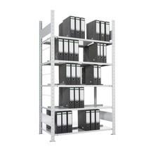 Módulo básico de estanteria para pastas de arquivo META, bilateral, sem prateleira superior, carga de 80 kg por prateleira, galvanizado