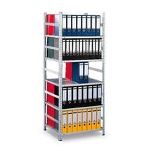 Módulo básico de estanteria para pastas de arquivo META, bilateral, sem prateleira superior, cinza-claro