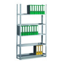 Módulo básico de estanteria para pastas de arquivo META, unilateral, sem prateleira superior, galvanizado