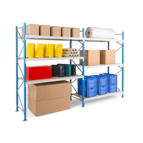 Módulo completo de estanteria larga com placas de aglomerado
