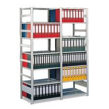 Módulo de montagem de estanteria para pastas de arquivo META, bilateral, com prateleira superior, galvanizado