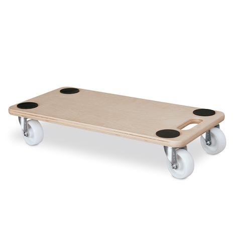 Möbelroller mit Holzplattform mit 4 Antirutsch-Noppen. Tragkraft 250 kg