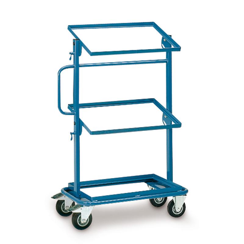 Montagehilfswagen fetra®. 1 fester + 2 neigbare, offene Böden für Kästen