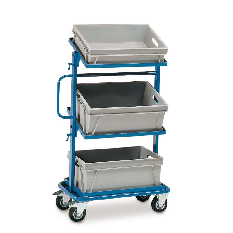 Montagehilfswagen fetra®. Je 1 Kasten auf 1 festen + 2 neigbaren, offenen Böden
