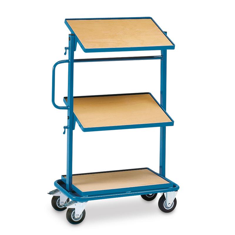 Montagehilfswagen fetra® mit 1 festen und 2 neigbaren Holzböden
