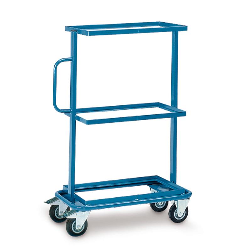 Montagehilfswagen fetra® mit 3 festen, offenen Böden für Kästen