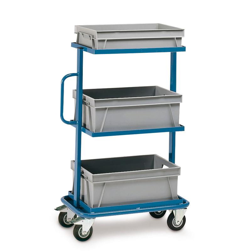 Montagehilfswagen fetra® mit je 1 Kasten auf 3 festen, offenen Böden