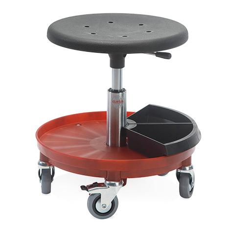 Montagehocker mit Kunststoffbasis rot, PU-Formsitz