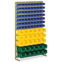 Montagestelling met staander en magazijnbakken van polypropyleen