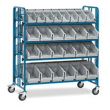 Montagewagen fetra® 2-seitig mit 52 Kästen. 4 Etagen, Tragkraft 300kg